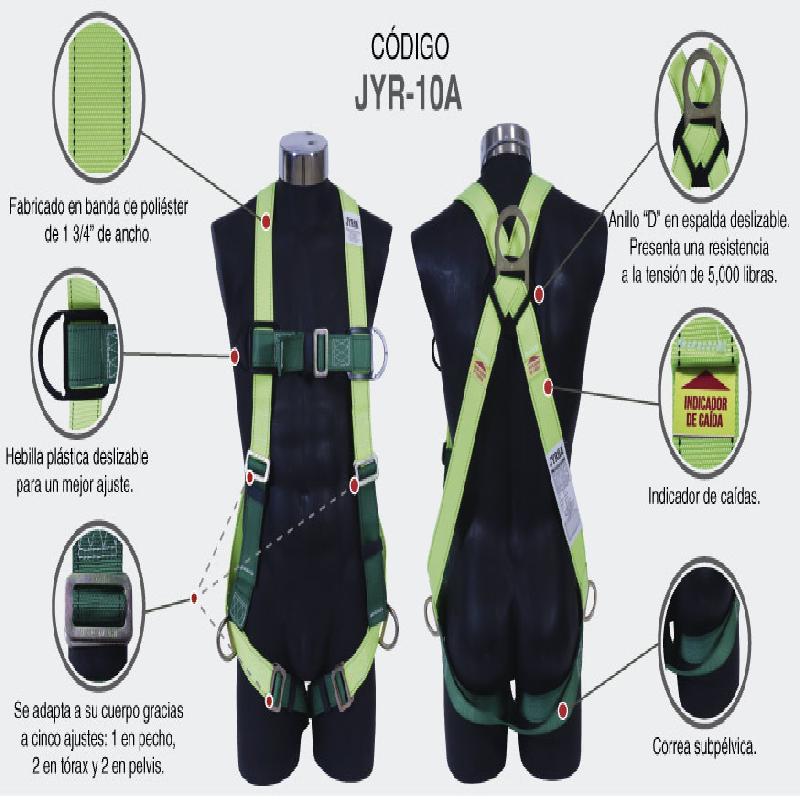 ISICLEAN - Arnes de Trabajo C/Anillo d en la espalda linea verde